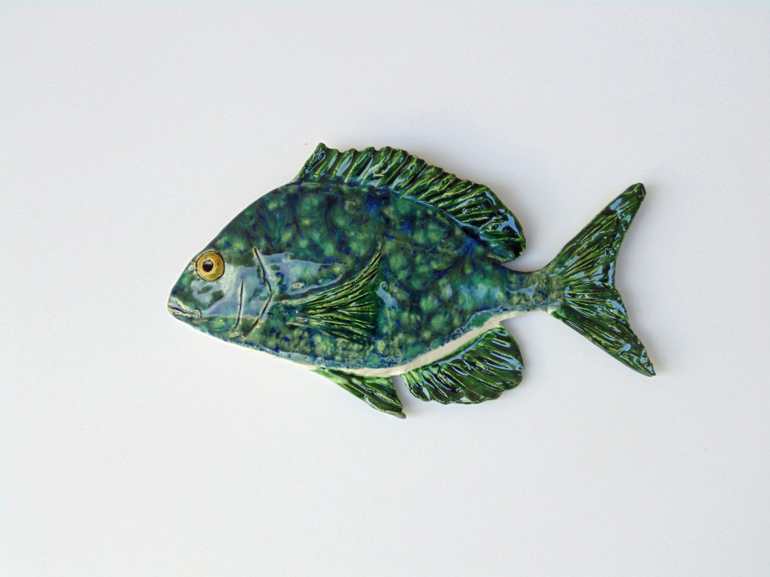 Ceramic scup fish art decorative wall hanging by for Fish wall hanging