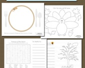Printable Thanksgiving Coloring Pages PDF Instant Download Thanksgiving Activity Sheets
