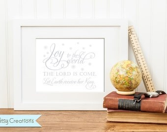 Christmas Printable Wall Art Joy to the World in Silver by BitsyCreations INSTANT Download