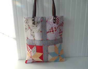 Tote Bag Leather Handles Repurposed Vintage Quilt Carry All Tote Bag Laptop Bag