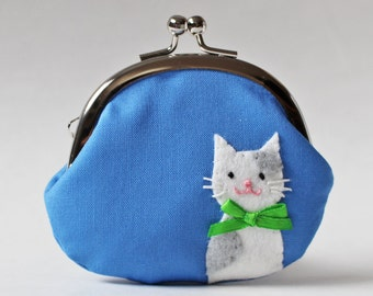 Cat purse cat coin purse change purse white cat with gray spots on blue coin pouch kiss lock purse sky blue green frame purse frame pouch
