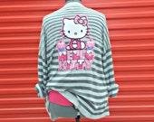 Plus Size Clothing . Women's Cardigan . 2X . XXL . Gray . Grey . Striped Sweater . Cupcake . Eco Chic