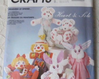 McCall's Crafts 892 Sewing Pattern Clown Bunny & Bear Dolls Clothes and Buckets Heart and Sole OOP Vintage 1988