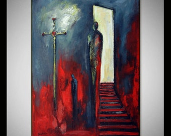 MODERN Abstract Expressionist Painting Black Red - CONTEMPORARY Art 40x28 - INSIGHT by BenWill