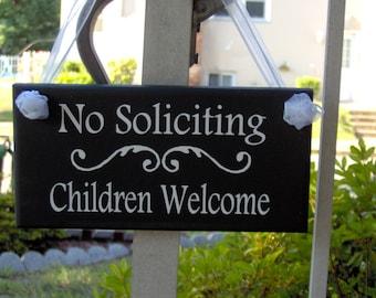 No Soliciting Sign Children Welcome Wood Sign Vinyl Sign New Home Entryway Door Hanger Boy Girl Scouts  House Garden Yard Sign Door Sign