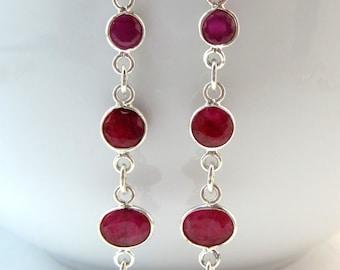 Ruby Dangle Earrings, Gemstone Earrings, Birthstone, Under 50, Gifts for Her,