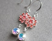 Ina Earrings - Swarovski Crystal - Silver Plated - Padparadscha - Bridesmaid Jewelry