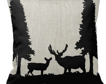 Throw Pillow - Sofa Cushion - Deer in Forest