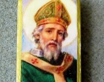 St. Patrick Catholic Art Recycled Domino Necklace Patron Ireland Barbers P2