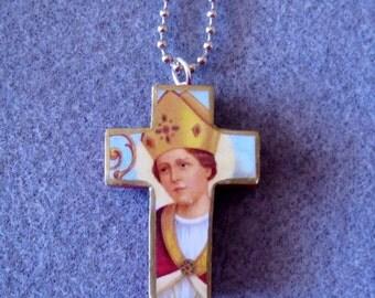 St. Gennaro Catholic Cross Crucifix Necklace Patron of Blood Banks Naples G8