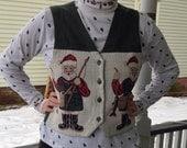 Orvis Embroidered Holiday Christmas Vest, Santa Fisherman, Small