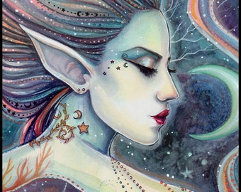 Celesta - Cestial Fairy Fine Art Print - Moon and Stars - Watercolor Giclee Print 5 x 7