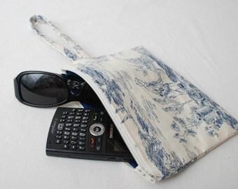Medium Blue Vintage Toile Print Cotton Fabric Wristlet