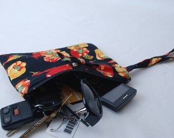 Zippered Red  and Yellow Peppers Cotton Fabric Wristlet Upcycled from a Necktie