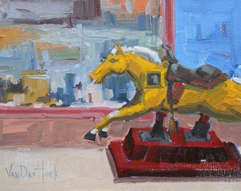 50 Cents to Ride - 9 x 12 Inch Original Oil Painting of a Horse - Horse Art - Art for the Ranch - Urban Art - Toy Art