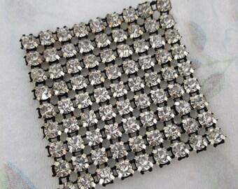 prong set rhinestone fabric square 47x47mm - f4416