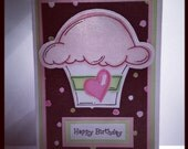 Happy Birthday Cupcake Handmade Greeting Card