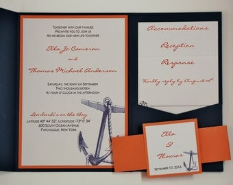 Nautical Anchor in Navy and Coral, pocketfold wedding invitation suite, sample set