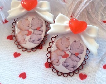 Valentine Kittens Large Cameo Earrings