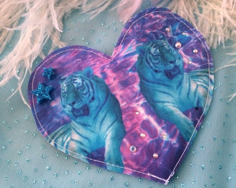 Neon Blue Tiger Fabric Heart Badge