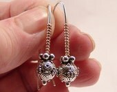 swirled Bali Bead drop earrings Sterling Silver/Gold-Filled