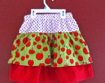 Girls Holiday Christmas Skirt Size 6 Size 7 Not Even A Mouse 3 Tiers Cotton