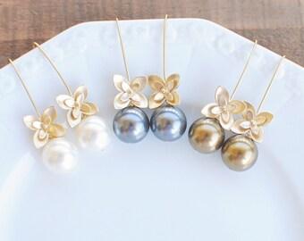 Flower and Pearl Earrings. Bridesmaids Earrings.