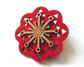 SALE. Flower Pin. Wood and Felt Brooch. Felt Pin. Felt Brooch. Wood Brooch. Wood Pin. Laser Cut Pin. Gifts For Her. Orange Flower.