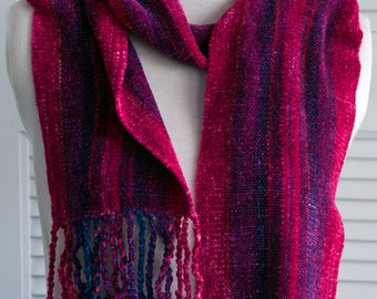 Handwoven and Handpainted Fuchsia/Red Stripes Rayon Chenille Scarf