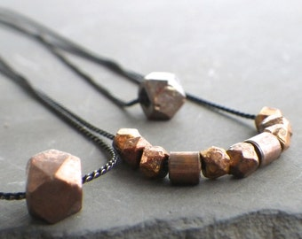 simple bead necklace, copper beaded necklace, copper and silver bead necklace, simple bead necklace