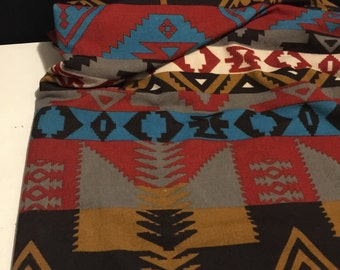 Stretch Polyester Knit Fabric  Tribal Design 1 Yard