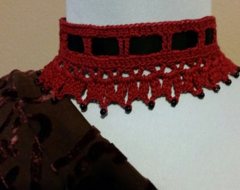 Red Crochet Beaded Necklace Choker Victorian Steampunk Gothic Noir