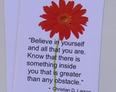 Motivational Greeting Card -  Christian D. Larson Quote - Beleive In Yourself