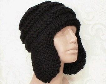 Black knit ear flap hat, trapper cap, aviator hat,  black hat, ski snowboard hat, biker cap, toque, women's hat, men's hat, chemo cap