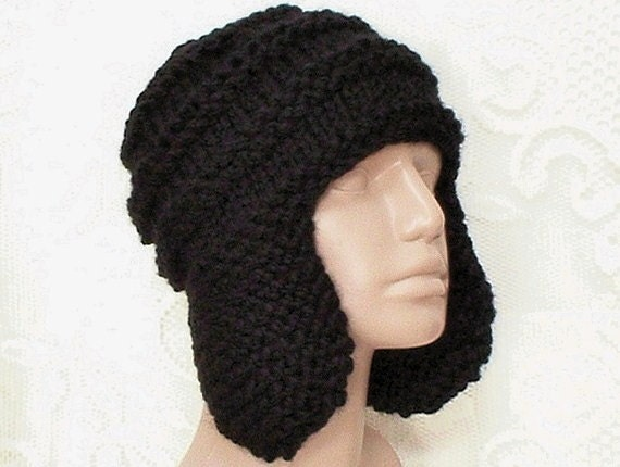 Black knit ear flap hat, trapper cap, black hat, ski snowboard hat, biker, hiker, runner, cap, toque, women's hat, men's hat, chemo cap