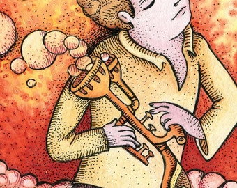 "PRINT of artist trading card  ""Burbuleen"" by Poxodd ~ ACEO,  ATC, music, fantasy instrument, bubbles, warm colors"