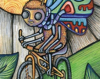 "PRINT artist trading card ""Butteryfly's Bicycle"" by Poxodd ~ Reproduction  ACEO 2.5"" X 3.5"" Double Sided, Insect, Humor, colorful, unique"