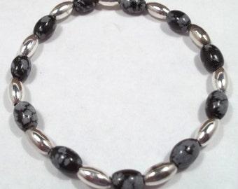 Snowflake Obsidian Stretch Bracelet Gemstone Bracelet Gemstone Jewelry Obsidian Bracelet Black Gray Bracelet BE2035