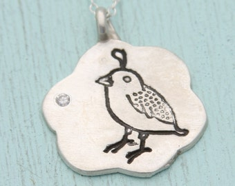 BIRTHSTONE QUAIL necklace, eco-friendly silver or 14kt gold vermeil, illustration by BOYGIRLPARTY.  Chocolate and Steel