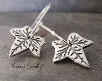 Ivy Leaf Earrings, Nature Inspired Jewelry, Friendship Jewelry, Rustic Leaf Earrings, Fine Silver Earrings, Botanical Jewelry