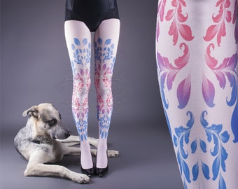 NEW light pink one size Fey full length printed tights closed toe pantyhose tattoo tights by tattoo socks