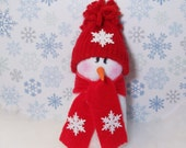 snowman table top decoration snowmen fabric stuffed in red and white
