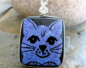 Purple HAPPY CAT Dichroic Glass Hand Etched Pendant Necklace - Wire Wrapped Glass Art