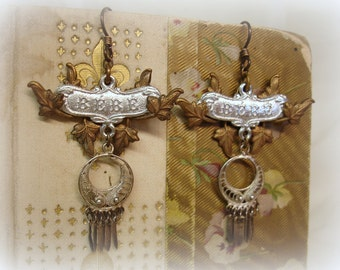 you've come a long way bebe one of a kind vintage assemblage earrings  . 1940s brass leaves wrapped bebe plaque vintage sterling drop