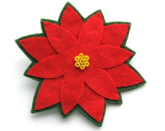 Poinsettia Brooch, felt Christmas brooch