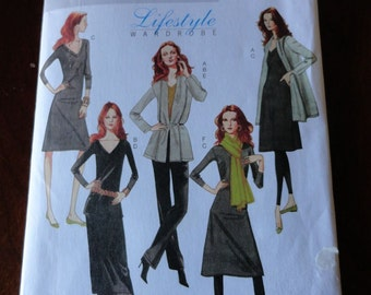 Butterick B5398 Lifestyle Wardrobe Misses Jacket Top Dress Skirt Pants and Scarf Sewing Pattern sz XS S M UNCUT