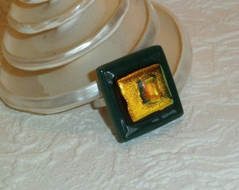 Green and Gold Dichroic Fused Glass Adjustable Ring