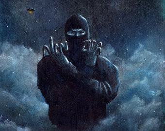 """Ninja Hand Sign with UFO in Background 8.5 x 11"""" print by Ray Young Chu"""