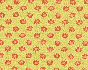 SALE - Somerset - Floral Swirls in Citron Green: sku 20232-12 cotton quilting fabric by Fig Tree for Moda Fabrics - 1 yard