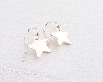Gold Star Earring Star Dangle Earrings Goldfilled Earings Star Jewelry Gifts for Her Dainty Earrings Small Earings Gold Dangle Ear Rings